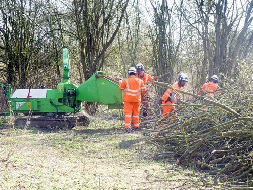 Area G1, Network Rail team with chipper