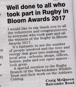 Rugby in Bloom Observer Letter